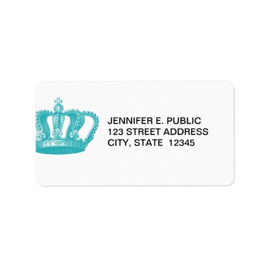 Girly Aqua Blue Vintage Crown Address Label