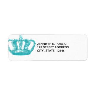 Girly Aqua Blue Vintage Crown Return Address Label