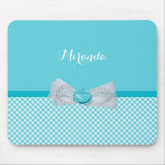 Girly Aqua Gingham Cute Pearls Rose Bow With Name Mouse Mat
