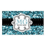 Girly Aqua Glitter Look Ladies Any Occupation Pack Of Standard Business Cards