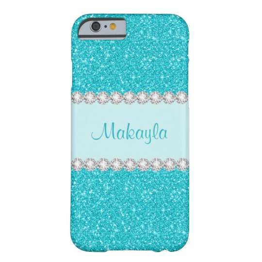Girly Aqua Glitter Sparkles iPhone 6 Case