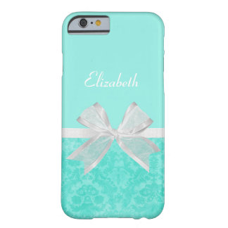 Girly Aqua Turquoise Damask White Ribbon With Name Barely There iPhone 6 Case