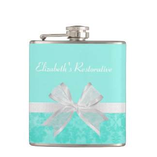 Girly Aqua Turquoise Damask White Ribbon With Name Flask