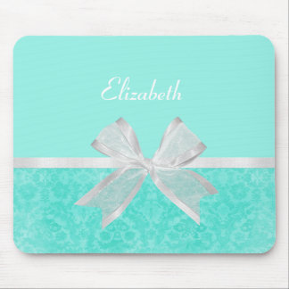 Girly Aqua Turquoise Damask White Ribbon With Name Mouse Mat
