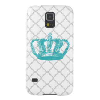 GIRLY AQUA VINTAGE CROWN GREY QUATREFOIL PATTERN GALAXY S5 COVER