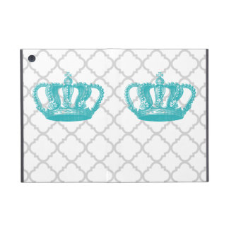 GIRLY AQUA VINTAGE CROWN GREY QUATREFOIL PATTERN iPad MINI COVER