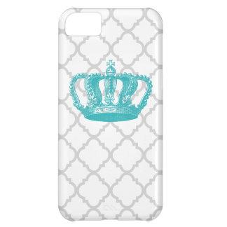 GIRLY AQUA VINTAGE CROWN GREY QUATREFOIL PATTERN iPhone 5C CASE