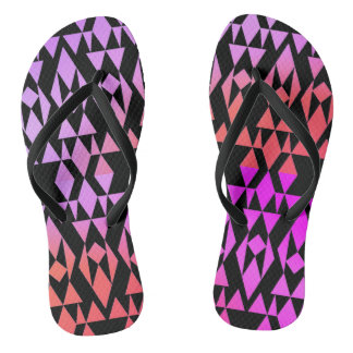 Girly Aztec Geometric Purple/Black Flip Flops