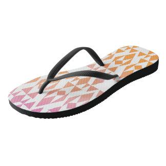 Girly Aztec Orange/Pink/White/Black Flip Flops