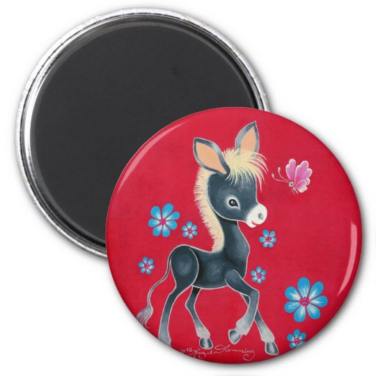 Girly Baby Donkey With Flowers 6 Cm Round