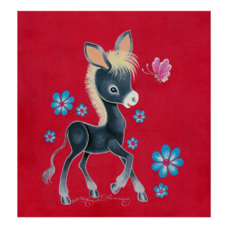 Girly Baby Donkey With Flowers Poster