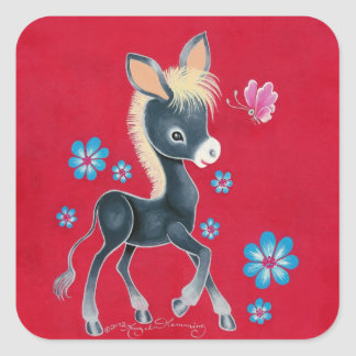 Girly Baby Donkey With Flowers Square Sticker