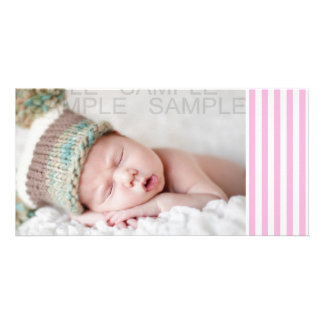Girly Baby Pink Solid Stripes Pattern Personalized Photo Card