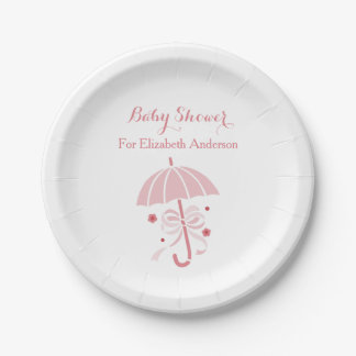 Girly Baby Shower Cute Pink Umbrella With Bow Paper Plate