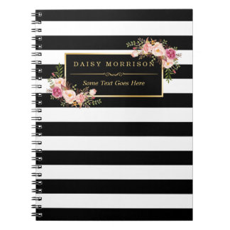 Girly Beautiful Floral Wrapping Gold B&W Stripes Spiral Note Books