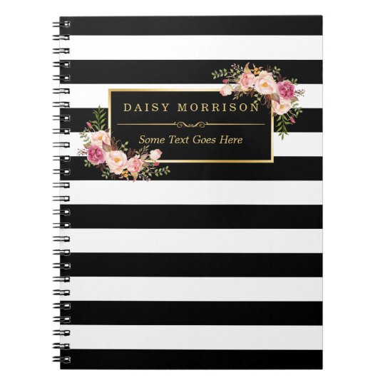 Girly Beautiful Floral Wrapping Gold B&W Stripes Spiral