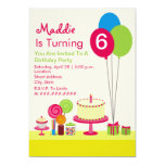Girly Birthday Party - Cake Balloons Candy Cupcake 13 Cm X 18 Cm Invitation Card