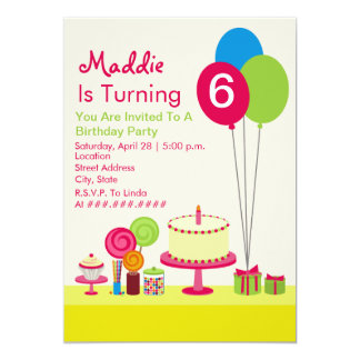 Girly Birthday Party - Cake Balloons Candy Cupcake 13 Cm X 18 Cm Invitation Card