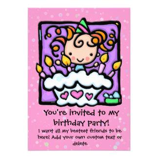 Girly birthday party invitations Lt PINK