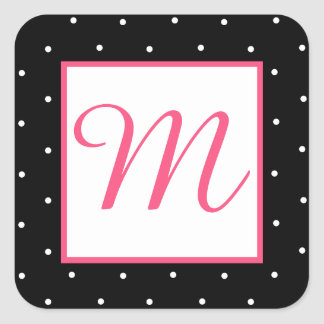 Girly Black and Pink Polka Dot Monogram Stickers