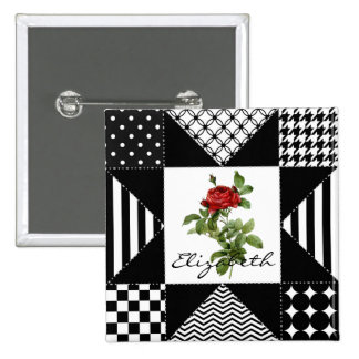 Girly Black and White Geometric Red Rose With Name 15 Cm Square Badge