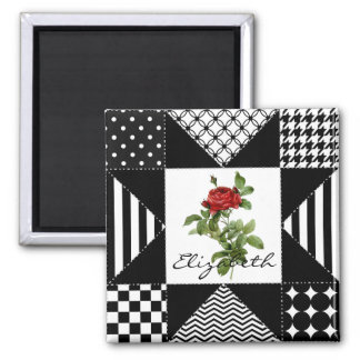 Girly Black and White Geometric Red Rose With Name Square Magnet
