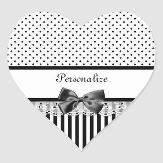Girly Black and White Victorian Stripes With Name Heart Sticker