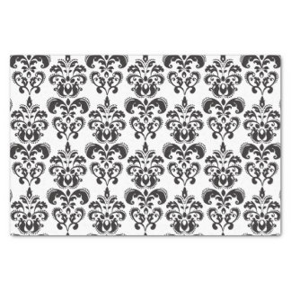 """Girly Black and White Vintage Damask Pattern 2 10"""" X 15"""" Tissue Paper"""