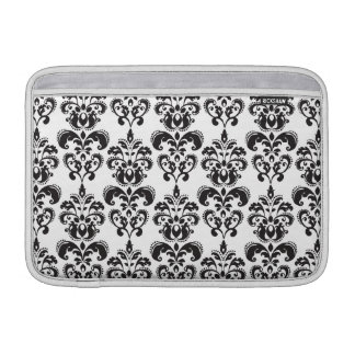 Girly Black and White Vintage Damask Pattern 2 MacBook Sleeve