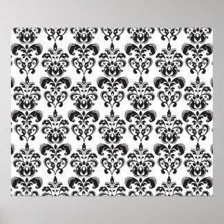 Girly Black and White Vintage Damask Pattern 2 Poster