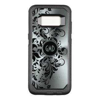 Girly Black Floral Lace Shiny Silver Background OtterBox Commuter Samsung Galaxy S8 Case