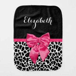 Girly Black Giraffe Animal Print Cute Hot Pink Bow Burp Cloth