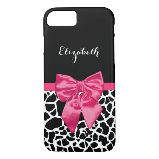 Girly Black Giraffe Animal Print Cute Hot Pink Bow iPhone 8/7 Case