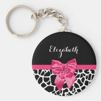 Girly Black Giraffe Animal Print Cute Hot Pink Bow Key Ring