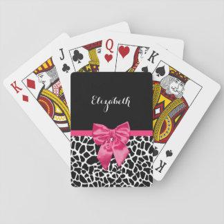 Girly Black Giraffe Animal Print Cute Hot Pink Bow Playing Cards