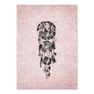 Girly Black lace dreamcatcher on pink floral lace 13 Cm X 18 Cm Invitation Card