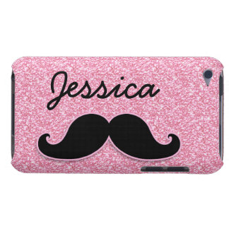 GIRLY BLACK MUSTACHE PINK GLITTER PRINTED BARELY THERE iPod CASE