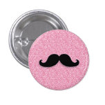 GIRLY BLACK MUSTACHE PINK GLITTER PRINTED BUTTONS