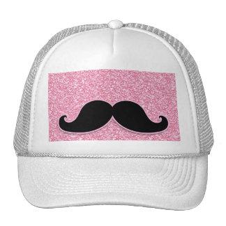 GIRLY BLACK MUSTACHE PINK GLITTER PRINTED CAP
