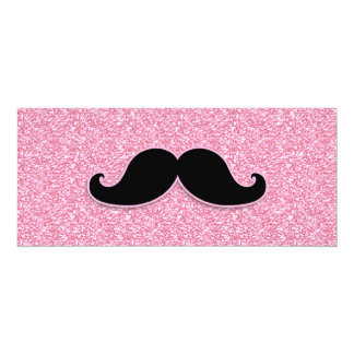 GIRLY BLACK MUSTACHE PINK GLITTER PRINTED CARD