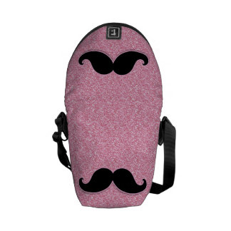 GIRLY BLACK MUSTACHE PINK GLITTER PRINTED MESSENGER BAGS