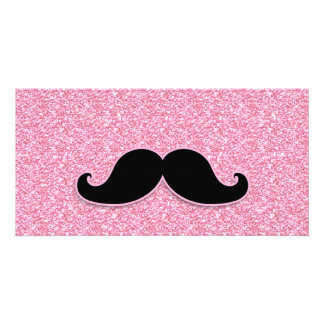 GIRLY BLACK MUSTACHE PINK GLITTER PRINTED PERSONALIZED PHOTO CARD