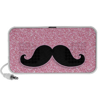 GIRLY BLACK MUSTACHE PINK GLITTER PRINTED LAPTOP SPEAKERS