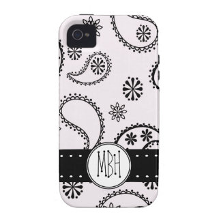 Girly Black Paisleys on White  with Initials Vibe iPhone 4 Cover