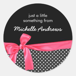Girly Black Polka Dots & Neon Pink Bow Gift Label Round Sticker