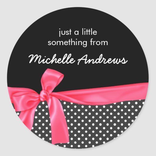 Girly Black Polka Dots & Neon Pink Bow Gift Label Stickers