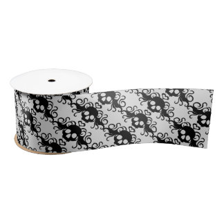 Girly black skulls and hearts on your color choice satin ribbon