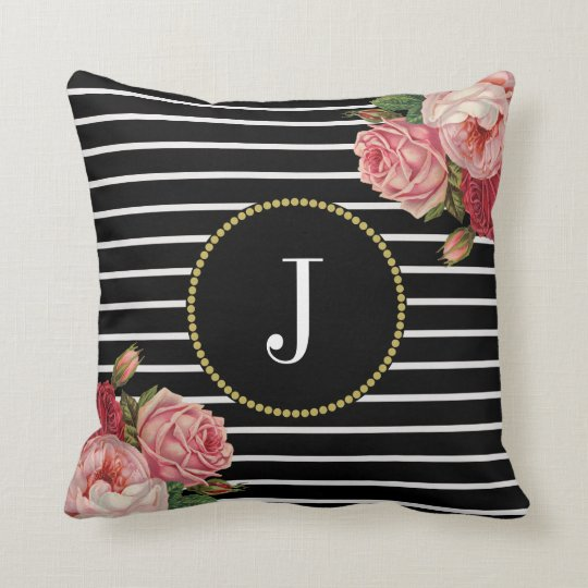 Girly Black Striped Vintage Roses Floral Monogram Cushion
