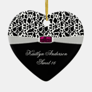 Girly Black White and Pink Jewel Sweet 16 Keepsake Ceramic Heart Decoration