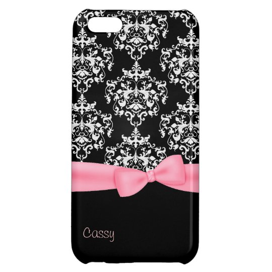 Girly Black & White Damask iPhone 5C Case